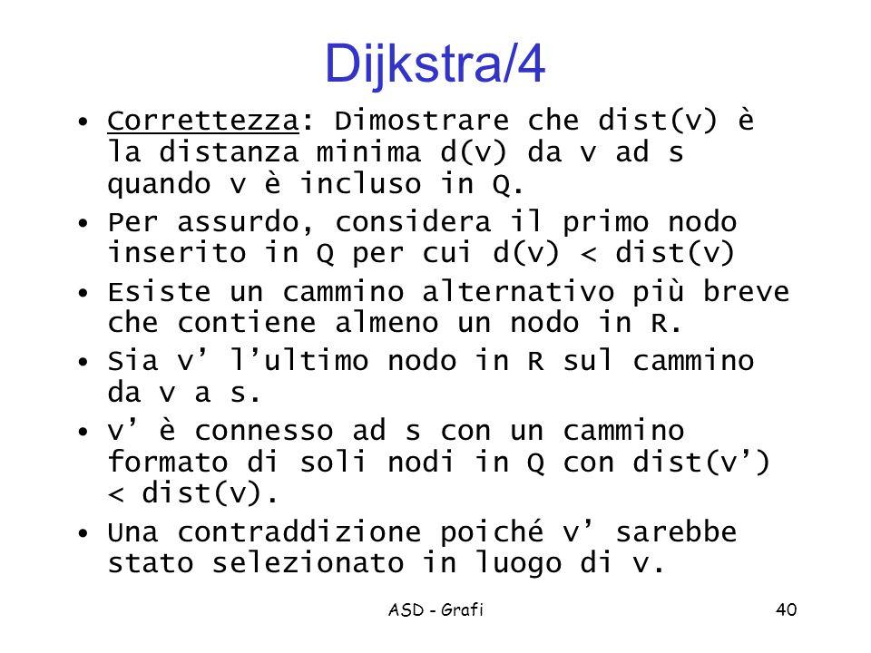Dijkstra/4 Correttezza: Dimostrare che dist(v) è la distanza minima d(v) da v ad s quando v è incluso in Q.