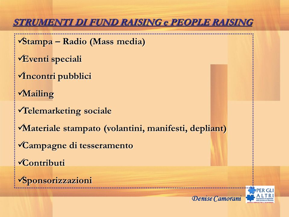 STRUMENTI DI FUND RAISING e PEOPLE RAISING