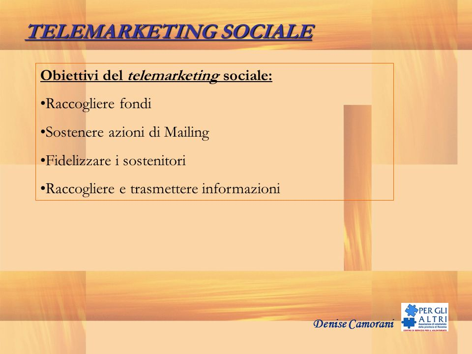 TELEMARKETING SOCIALE