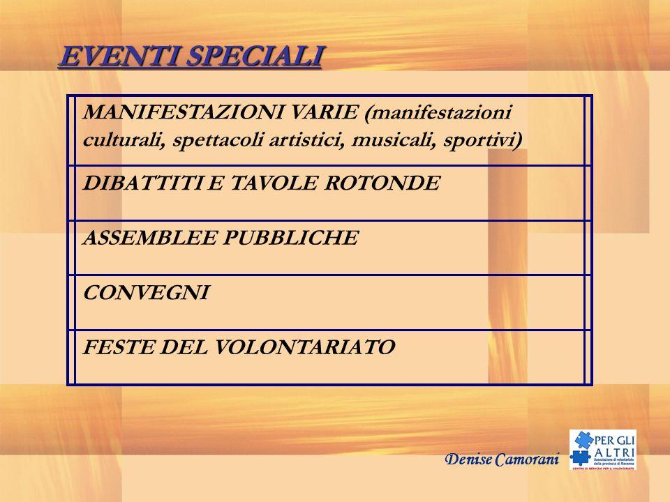 EVENTI SPECIALI MANIFESTAZIONI VARIE (manifestazioni culturali, spettacoli artistici, musicali, sportivi)