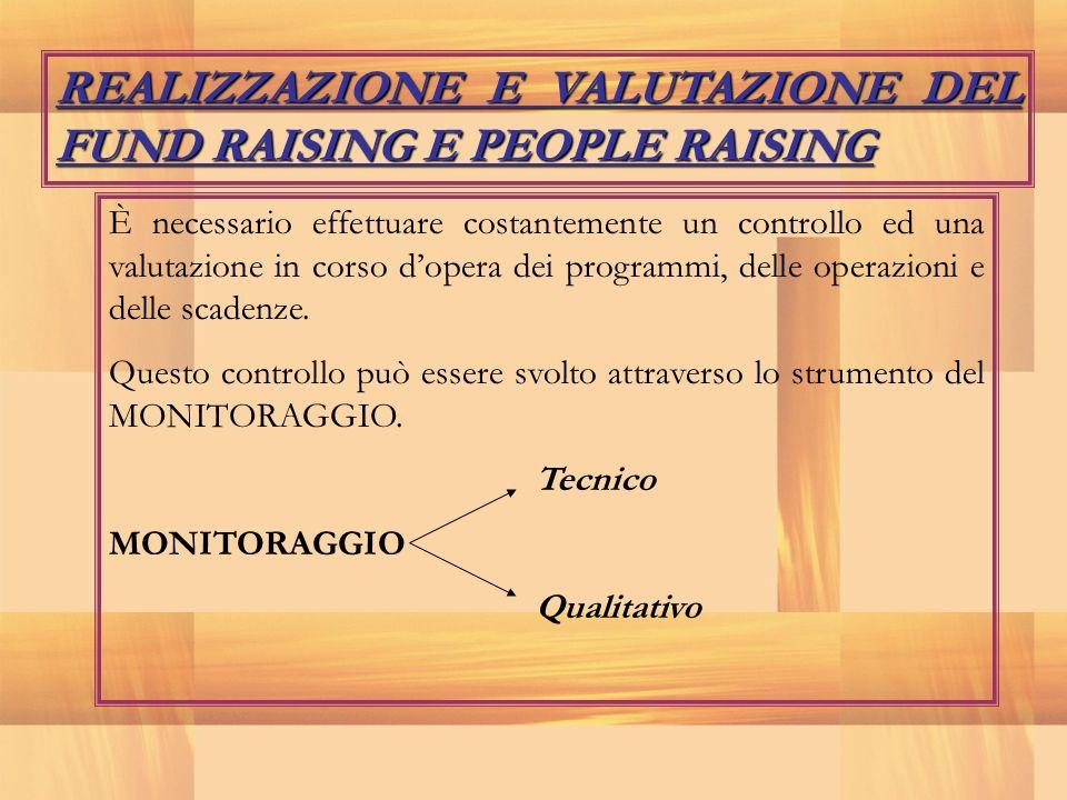 REALIZZAZIONE E VALUTAZIONE DEL FUND RAISING E PEOPLE RAISING