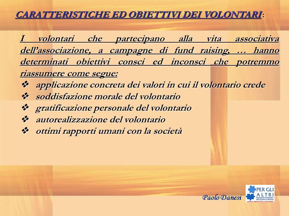 CARATTERISTICHE ED OBIETTIVI DEI VOLONTARI :