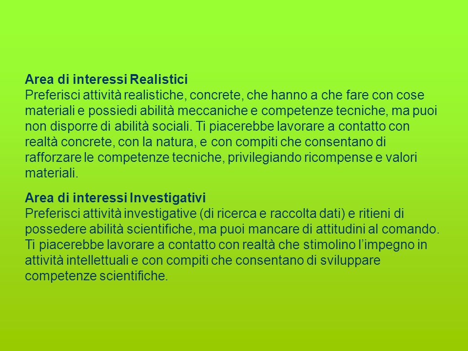 Area di interessi Realistici