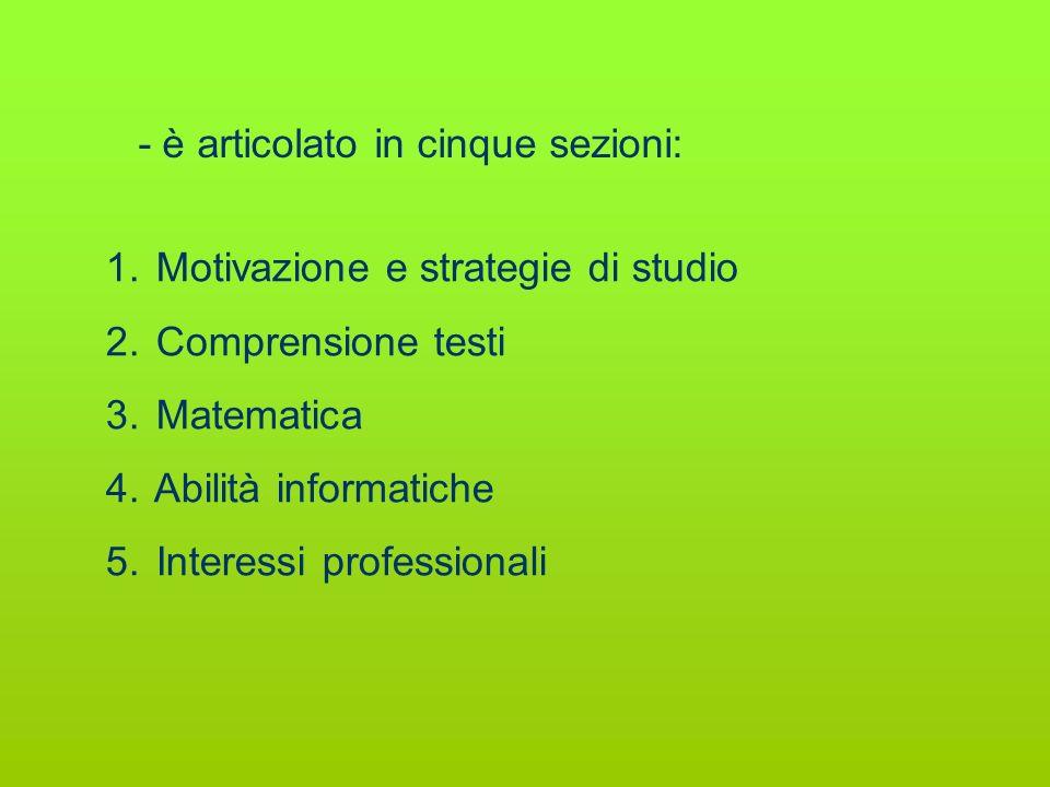 Motivazione e strategie di studio Comprensione testi Matematica