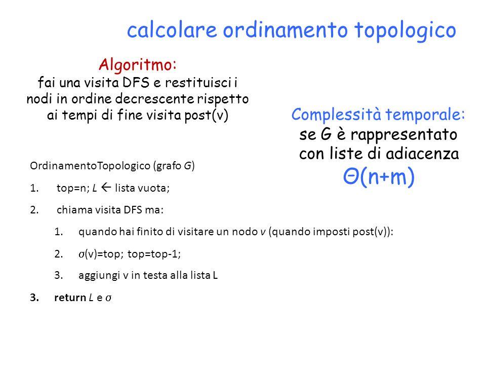 calcolare ordinamento topologico