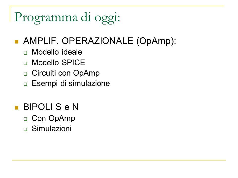 Programma di oggi: AMPLIF. OPERAZIONALE (OpAmp): BIPOLI S e N