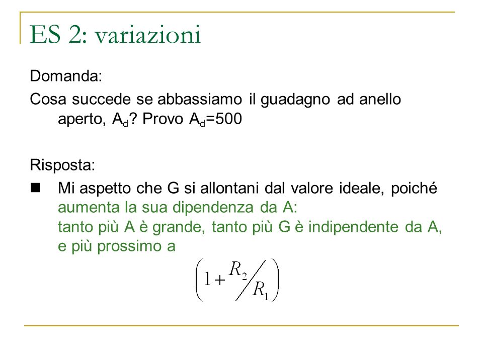 ES 2: variazioni Domanda: