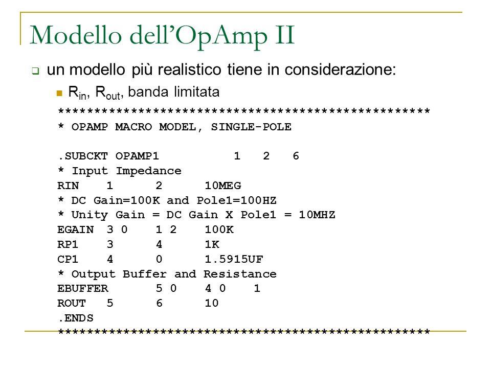 Modello dell'OpAmp II un modello più realistico tiene in considerazione: Rin, Rout, banda limitata.