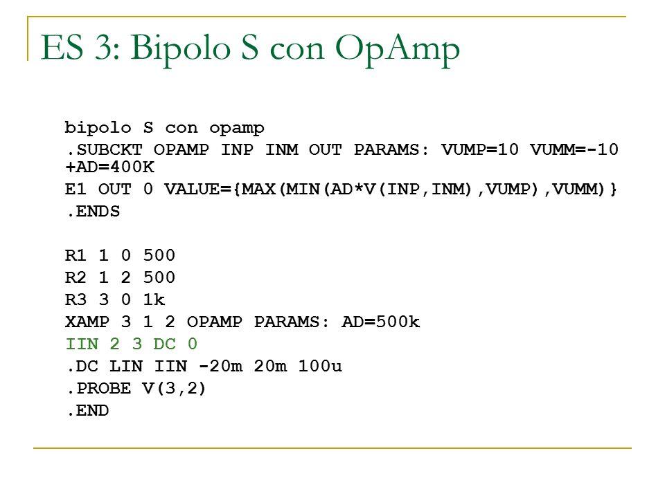 ES 3: Bipolo S con OpAmp bipolo S con opamp