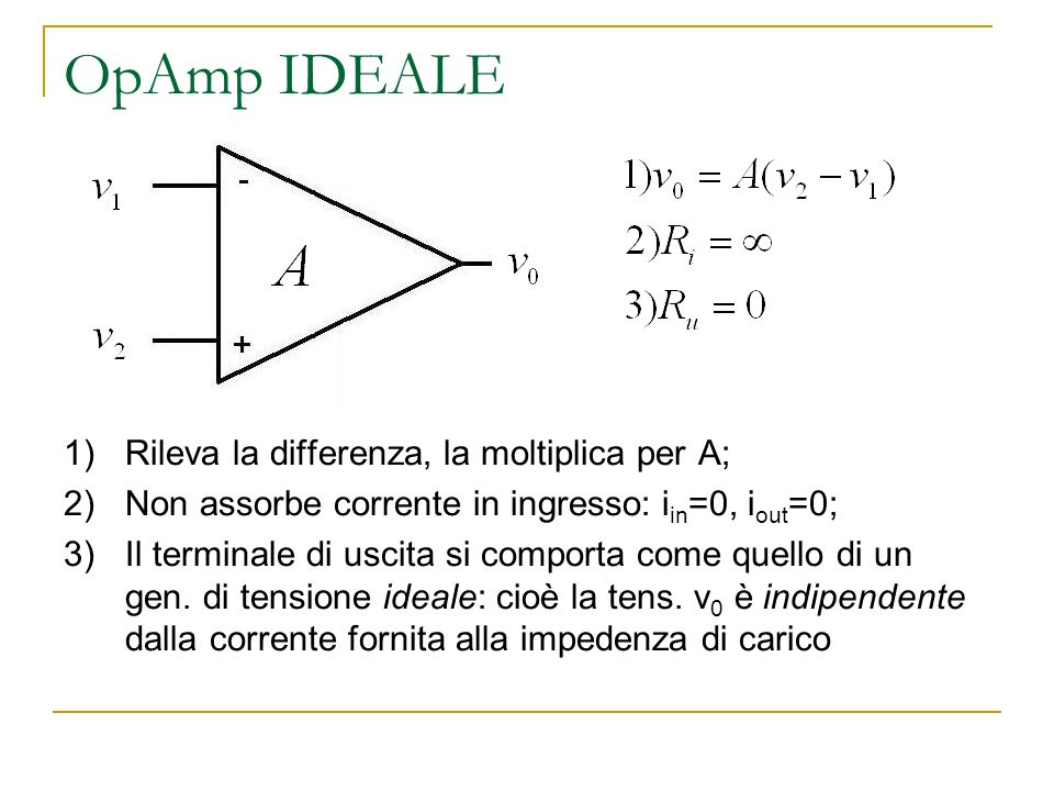 OpAmp IDEALE Rileva la differenza, la moltiplica per A;