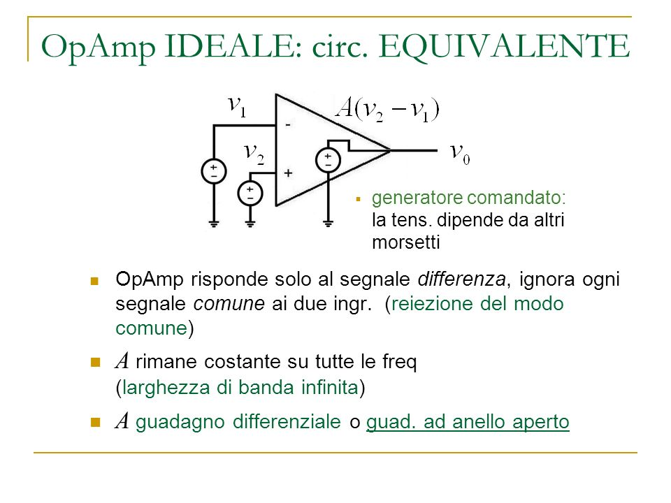 OpAmp IDEALE: circ. EQUIVALENTE