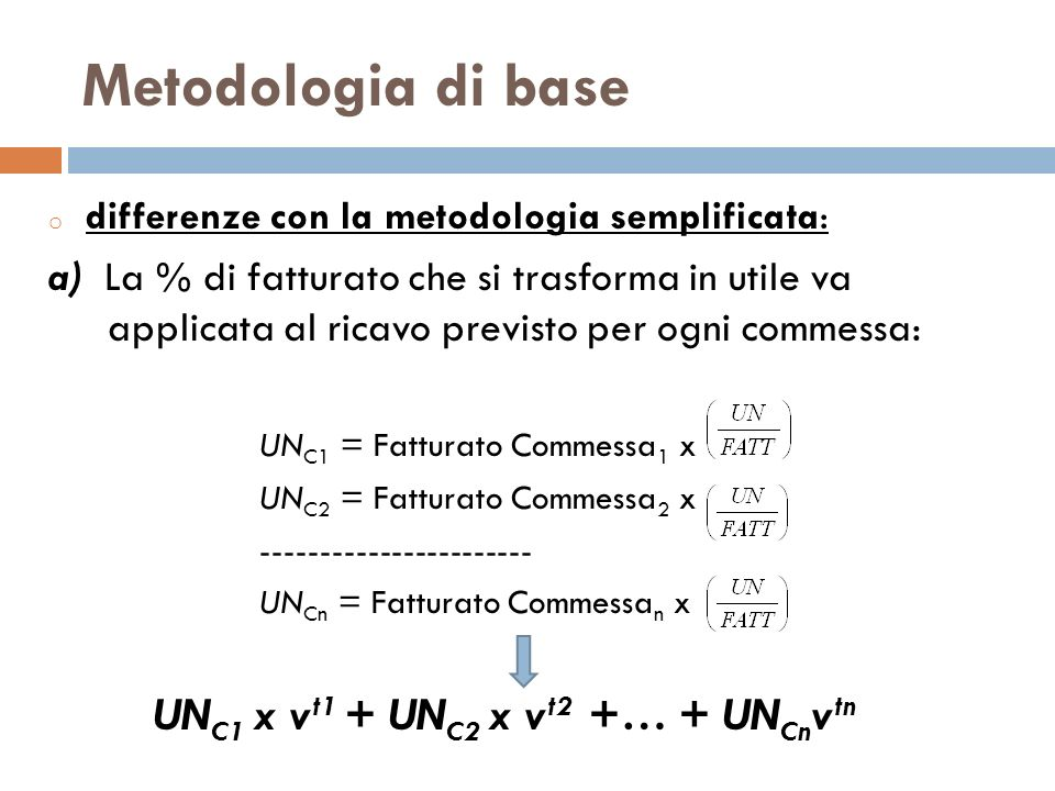 Metodologia di base differenze con la metodologia semplificata: