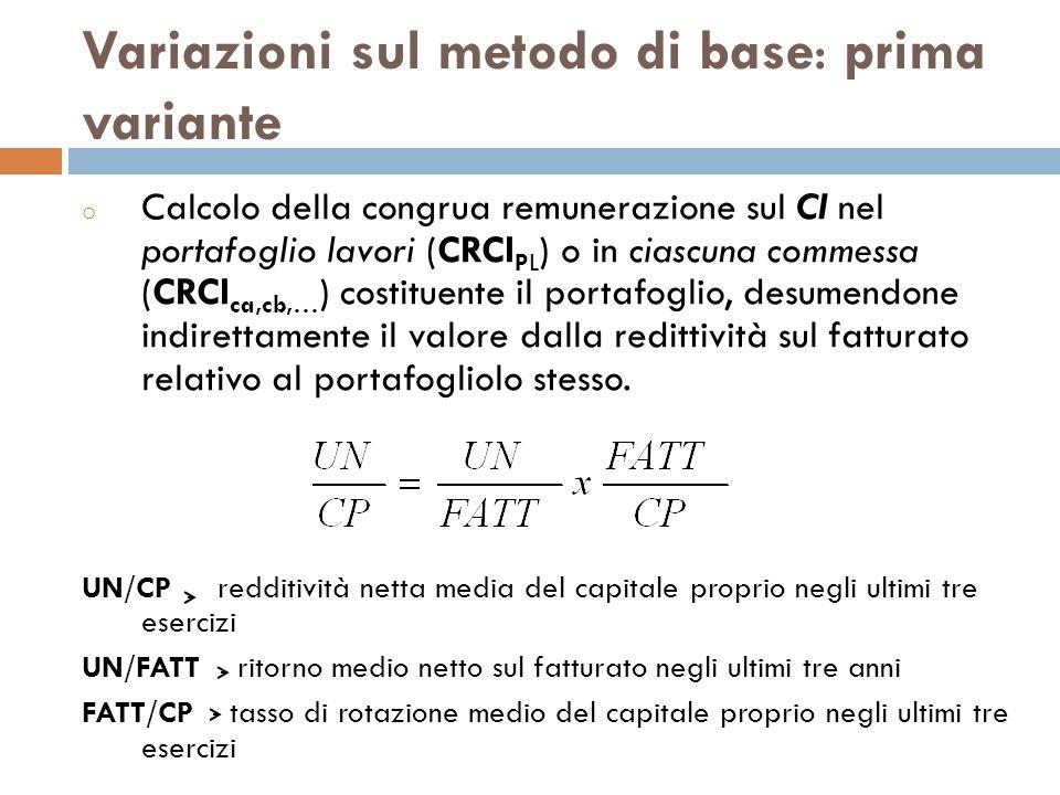 Variazioni sul metodo di base: prima variante