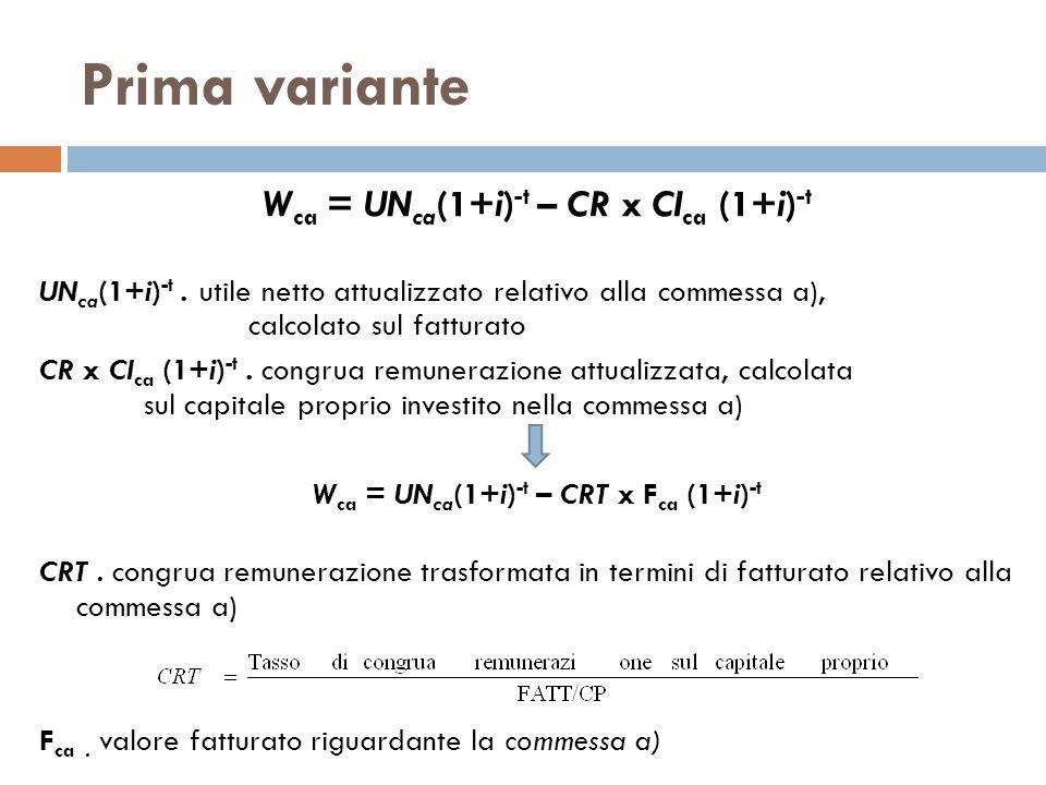 Prima variante Wca = UNca(1+i)-t – CR x CIca (1+i)-t