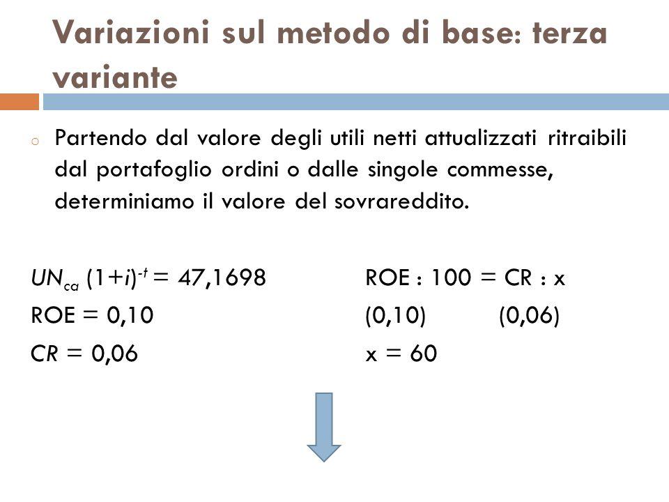 Variazioni sul metodo di base: terza variante