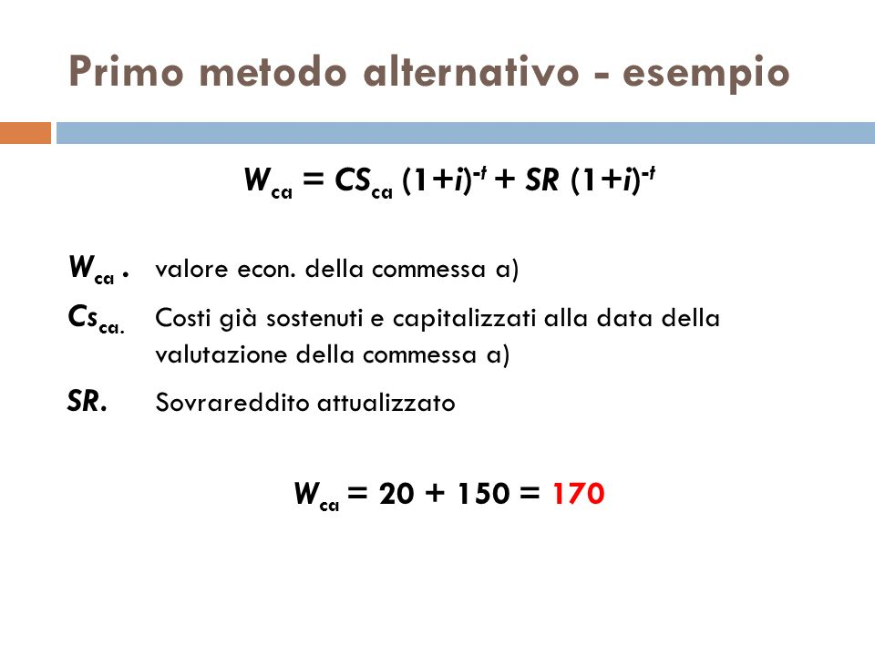 Primo metodo alternativo - esempio