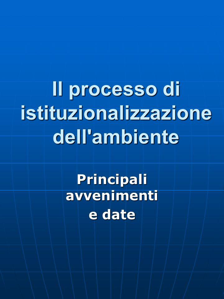 Il processo di istituzionalizzazione dell ambiente