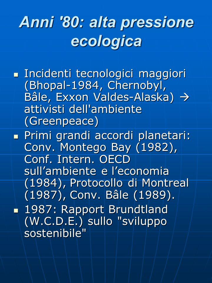 Anni 80: alta pressione ecologica