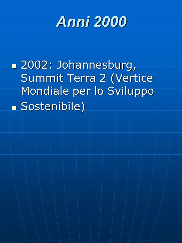 Anni 2000 2002: Johannesburg, Summit Terra 2 (Vertice Mondiale per lo Sviluppo Sostenibile)