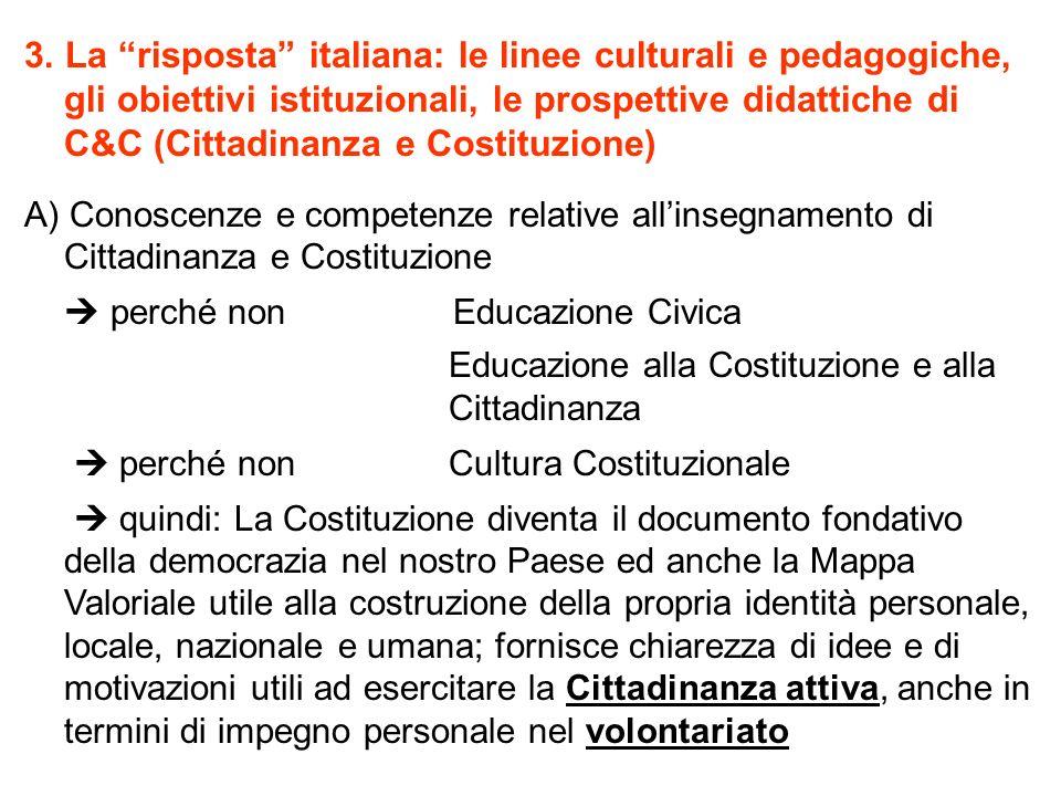 3. La risposta italiana: le linee culturali e pedagogiche, gli obiettivi istituzionali, le prospettive didattiche di C&C (Cittadinanza e Costituzione)