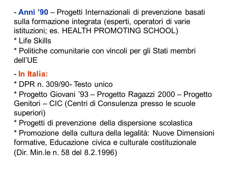 - Anni '90 – Progetti Internazionali di prevenzione basati sulla formazione integrata (esperti, operatori di varie istituzioni; es. HEALTH PROMOTING SCHOOL)