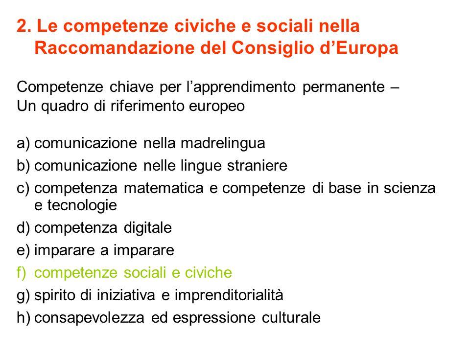 2. Le competenze civiche e sociali nella Raccomandazione del Consiglio d'Europa