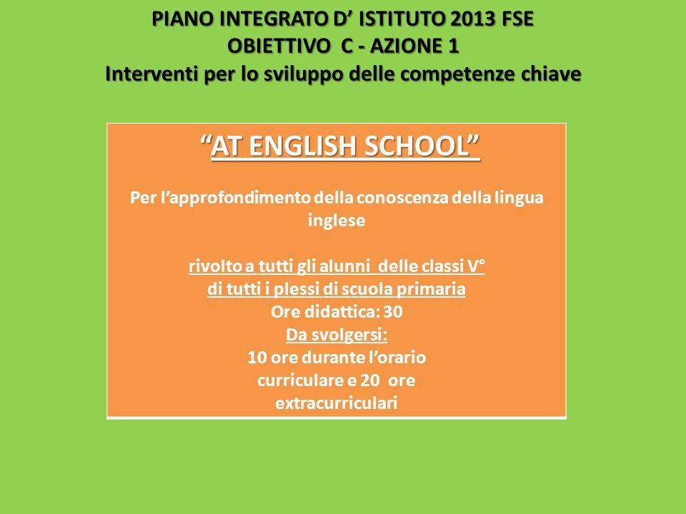 PIANO INTEGRATO D' ISTITUTO 2013 FSE OBIETTIVO C - AZIONE 1 Interventi per lo sviluppo delle competenze chiave