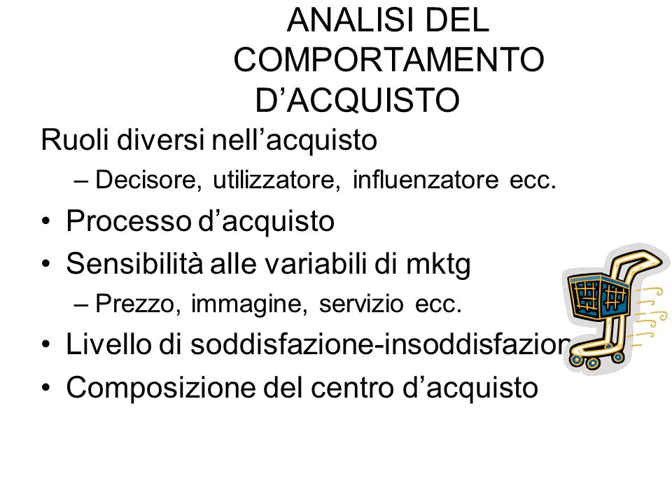 ANALISI DEL COMPORTAMENTO D'ACQUISTO