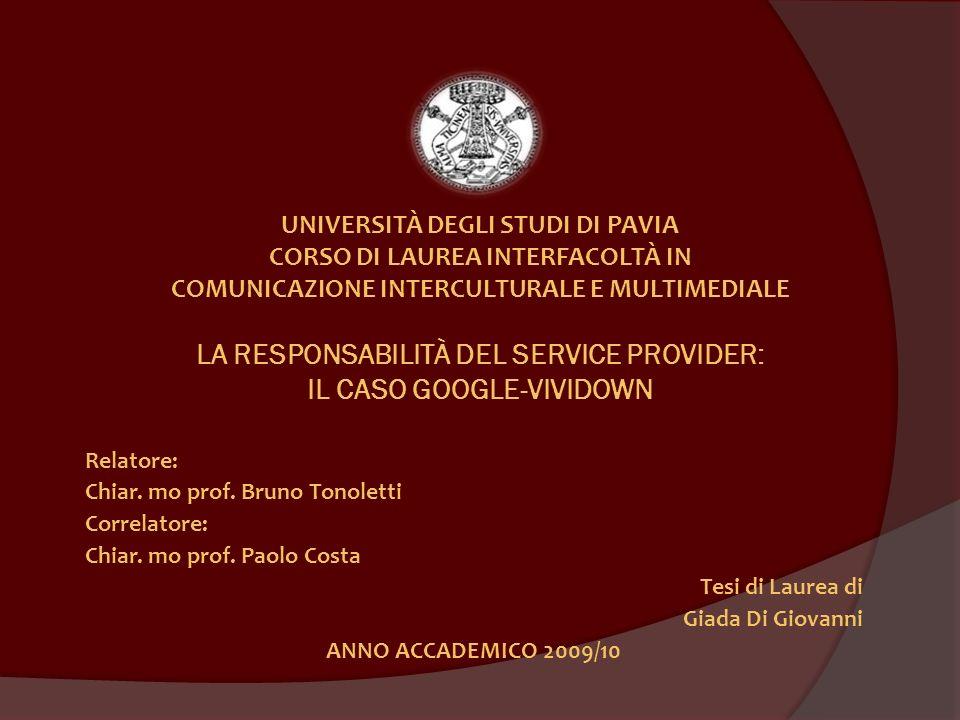 Chiar. mo prof. Bruno Tonoletti Correlatore: