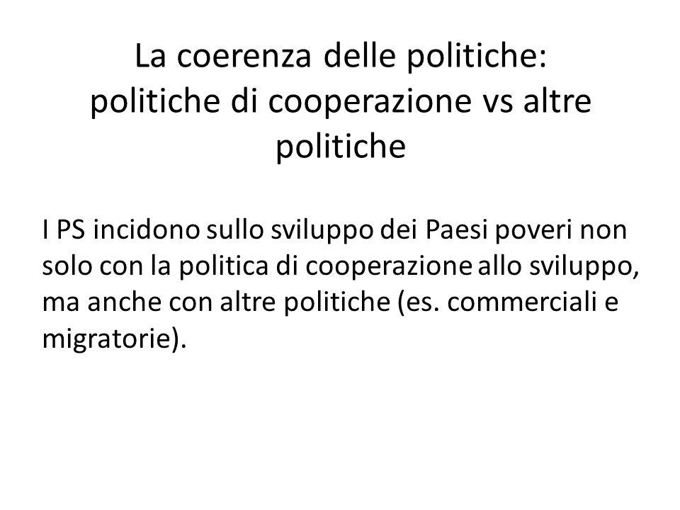 La coerenza delle politiche: politiche di cooperazione vs altre politiche
