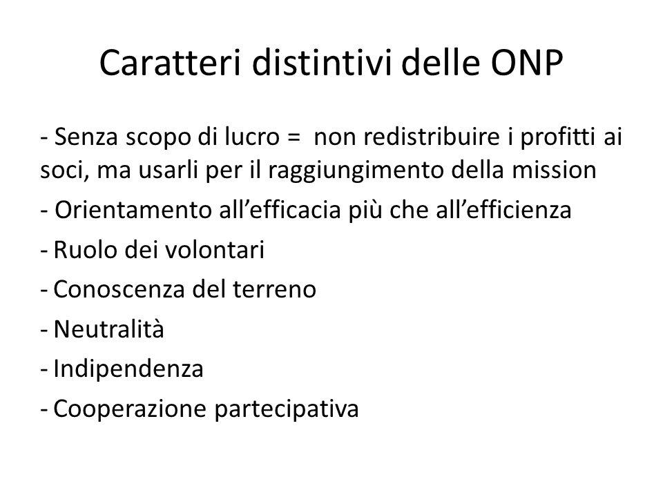 Caratteri distintivi delle ONP