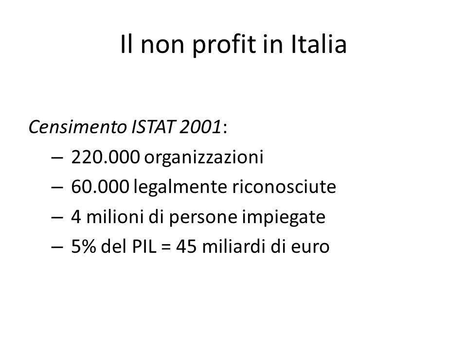 Il non profit in Italia Censimento ISTAT 2001: 220.000 organizzazioni