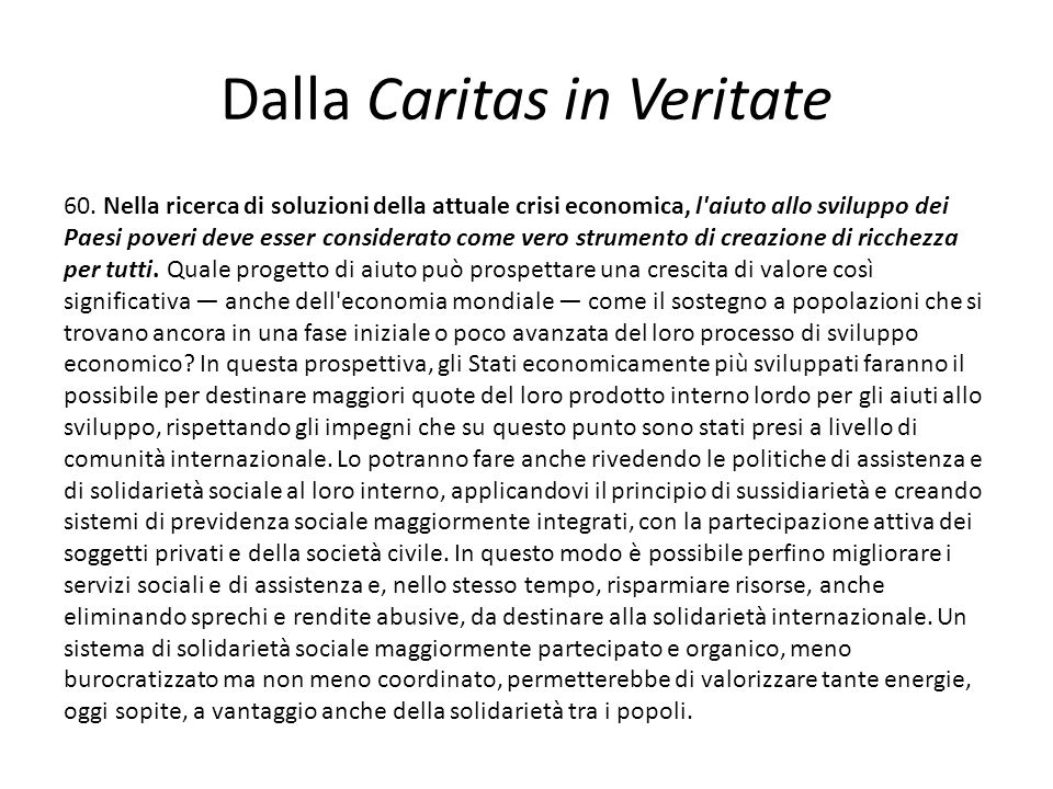 Dalla Caritas in Veritate