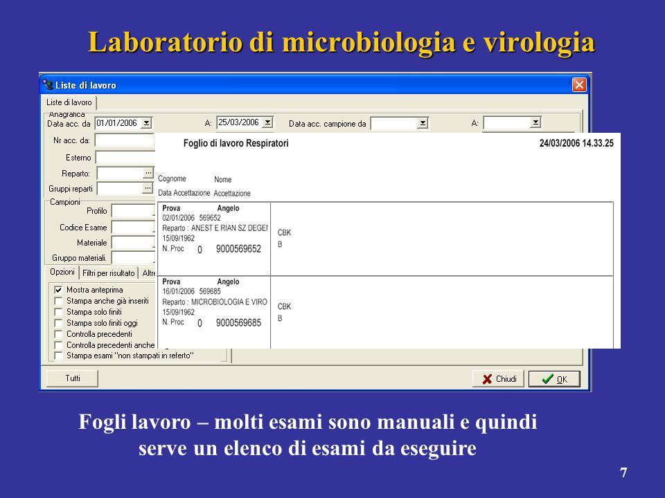 Laboratorio di microbiologia e virologia