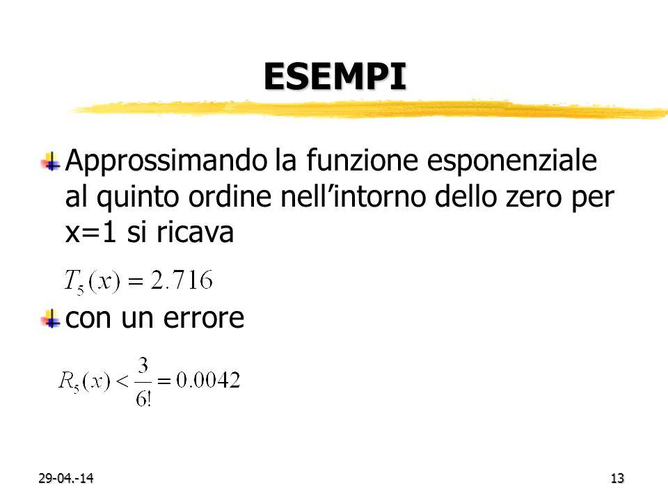 ESEMPI Approssimando la funzione esponenziale al quinto ordine nell'intorno dello zero per x=1 si ricava.