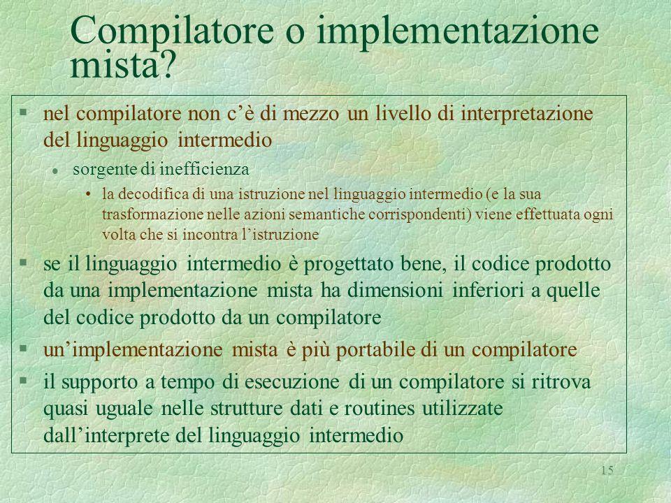 Compilatore o implementazione mista