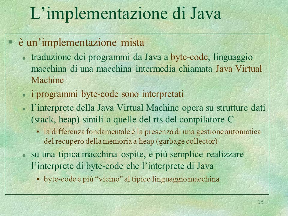L'implementazione di Java