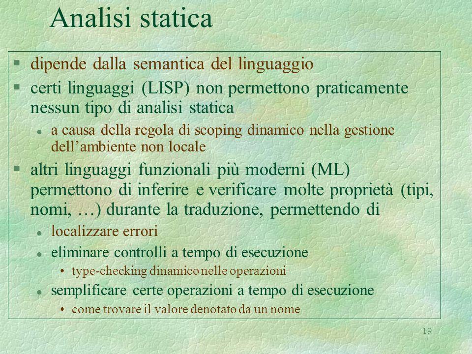 Analisi statica dipende dalla semantica del linguaggio