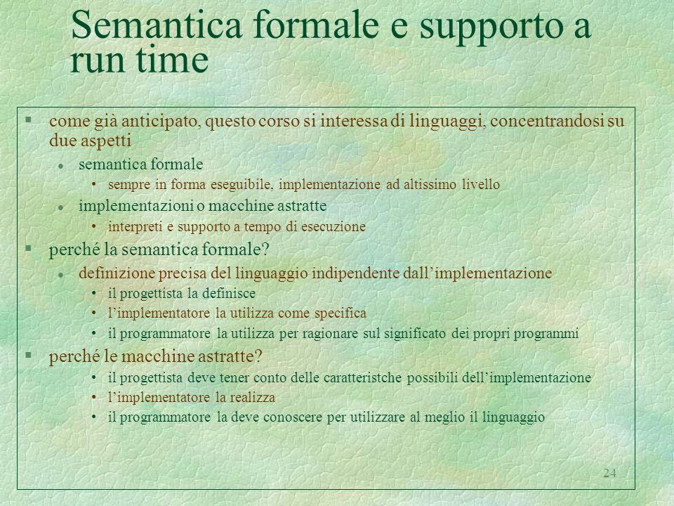 Semantica formale e supporto a run time