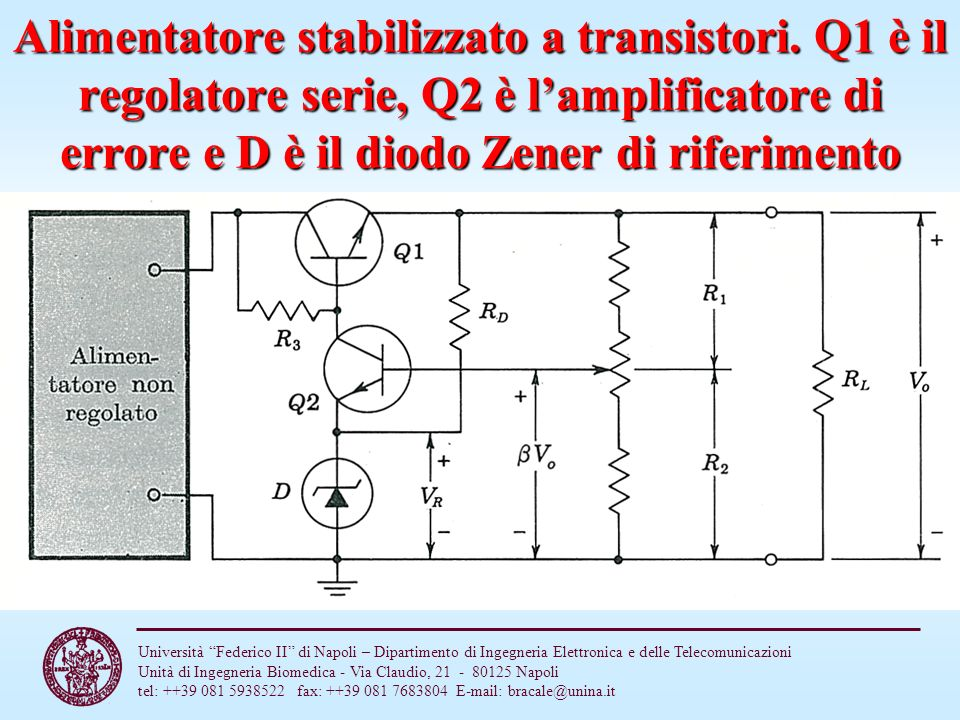 Alimentatore stabilizzato a transistori