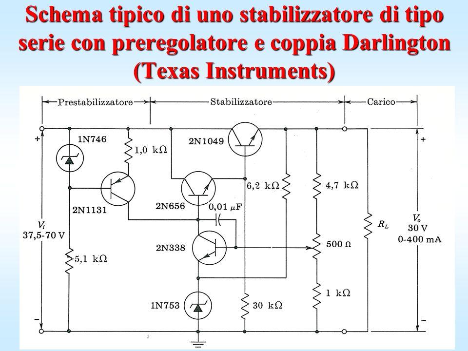 Schema tipico di uno stabilizzatore di tipo serie con preregolatore e coppia Darlington (Texas Instruments)