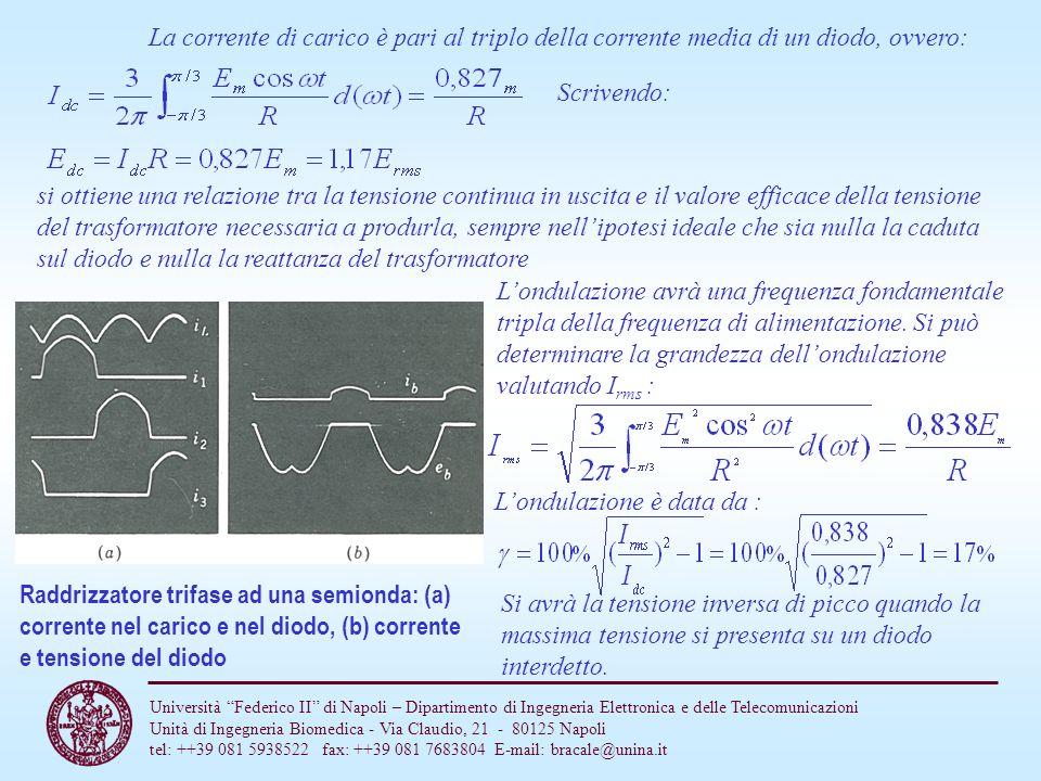 La corrente di carico è pari al triplo della corrente media di un diodo, ovvero: