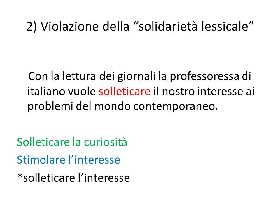 2) Violazione della solidarietà lessicale