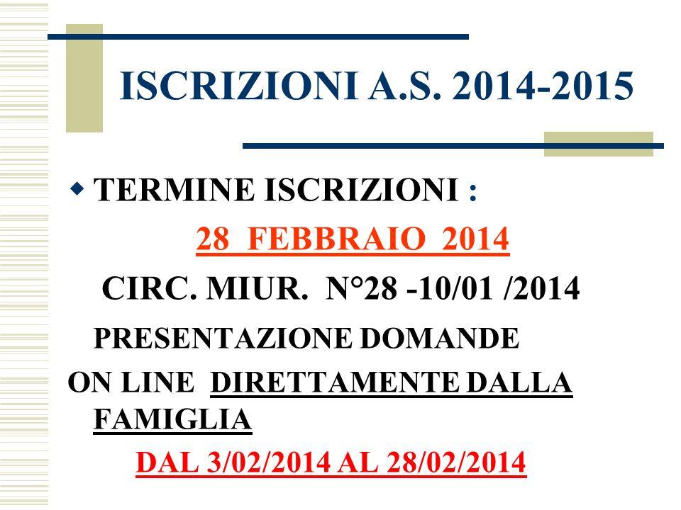 ISCRIZIONI A.S. 2014-2015 TERMINE ISCRIZIONI :