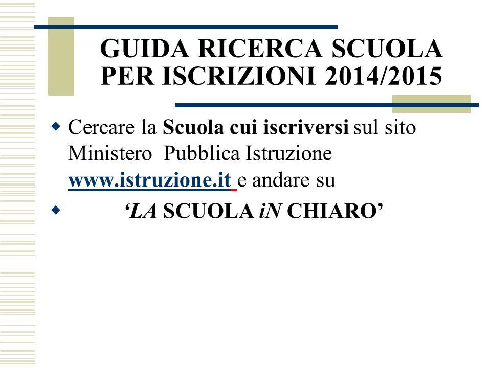 GUIDA RICERCA SCUOLA PER ISCRIZIONI 2014/2015