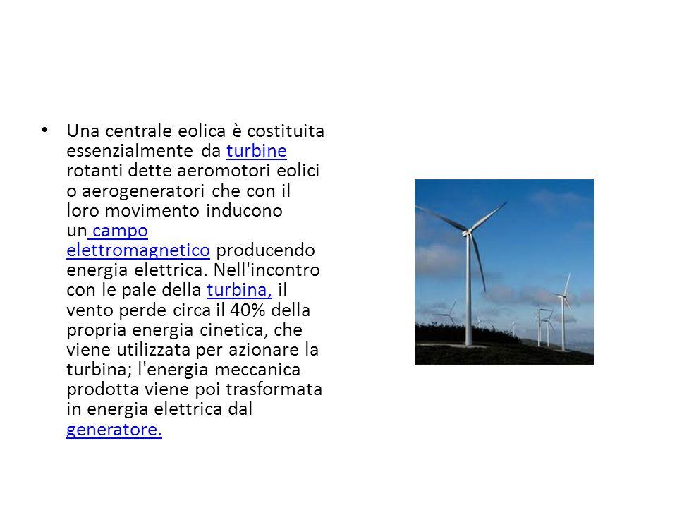 Una centrale eolica è costituita essenzialmente da turbine rotanti dette aeromotori eolici o aerogeneratori che con il loro movimento inducono un campo elettromagnetico producendo energia elettrica.