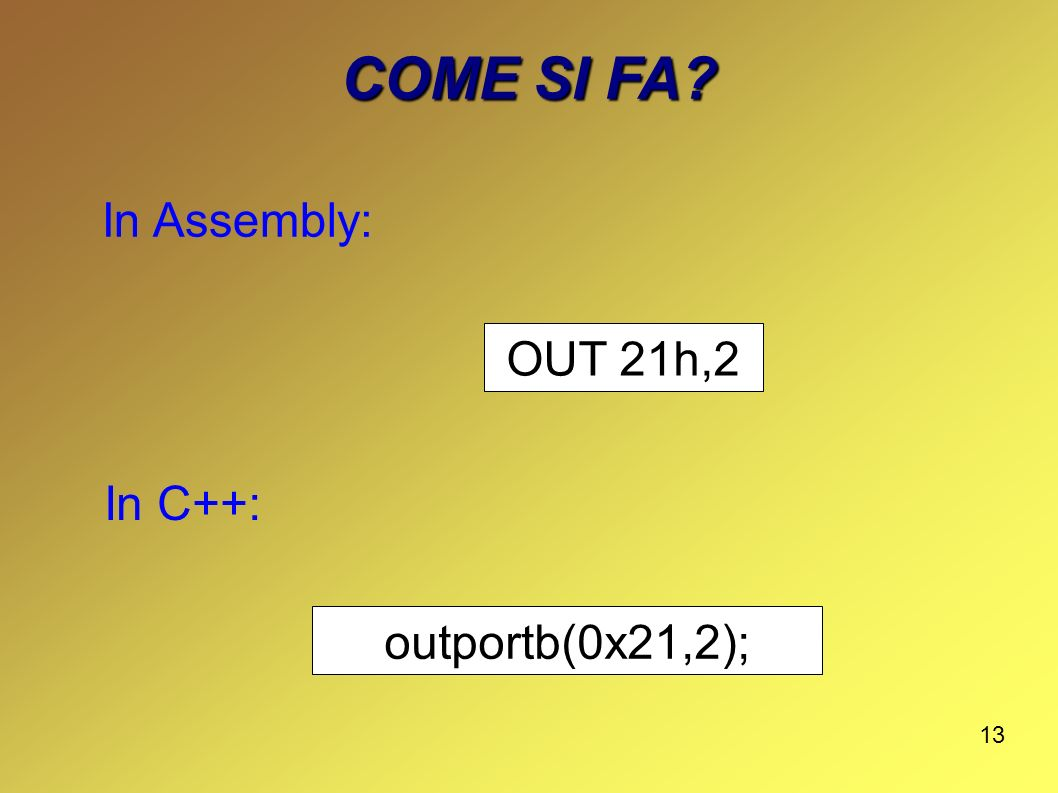 COME SI FA In Assembly: OUT 21h,2 In C++: outportb(0x21,2);