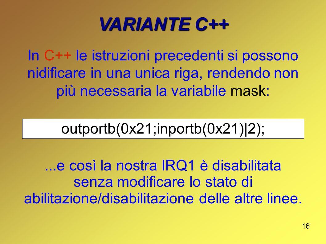 outportb(0x21;inportb(0x21)|2);