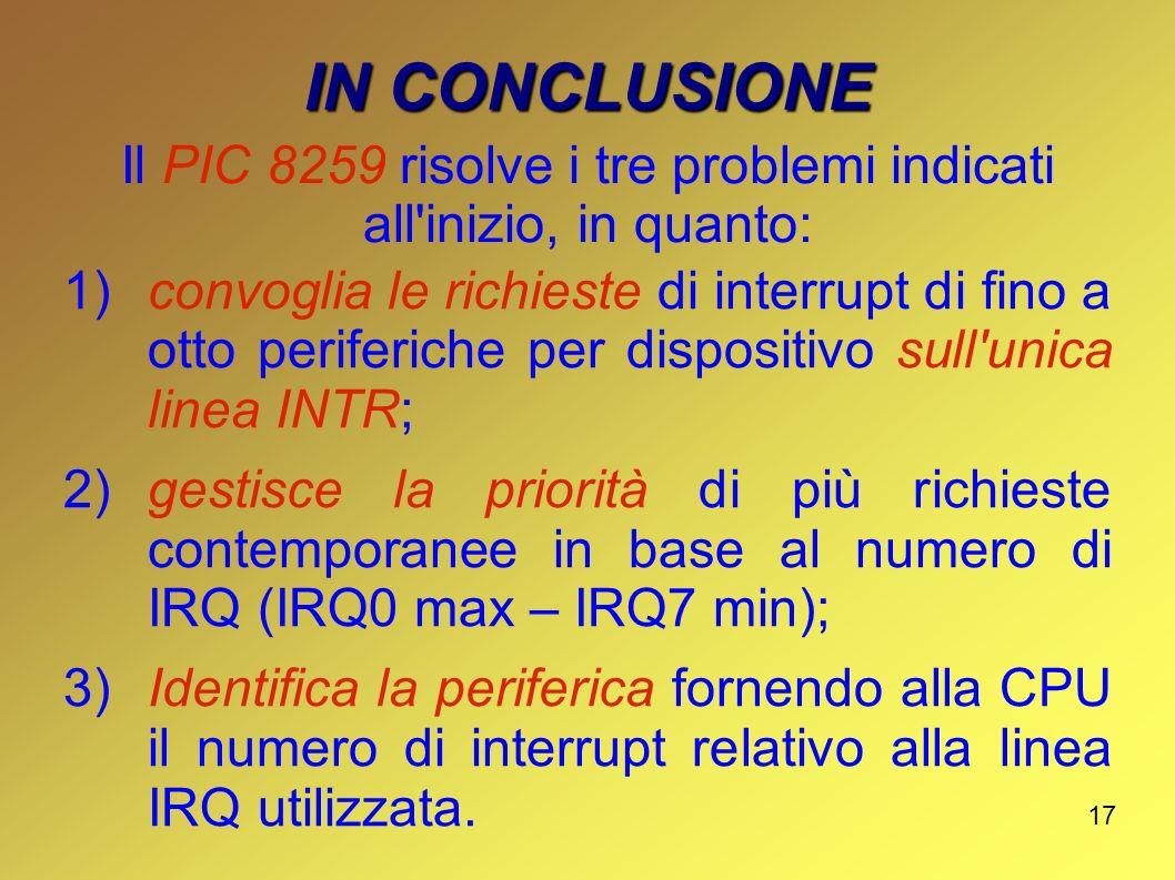 Il PIC 8259 risolve i tre problemi indicati all inizio, in quanto: