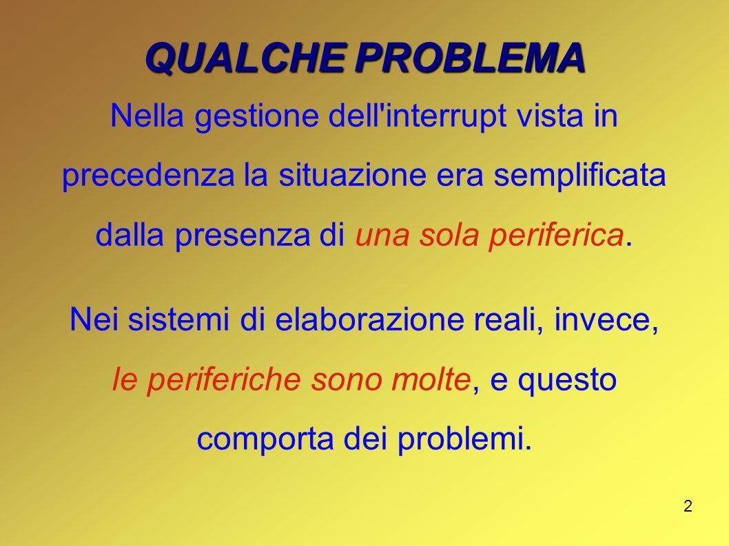 QUALCHE PROBLEMA Nella gestione dell interrupt vista in precedenza la situazione era semplificata dalla presenza di una sola periferica.
